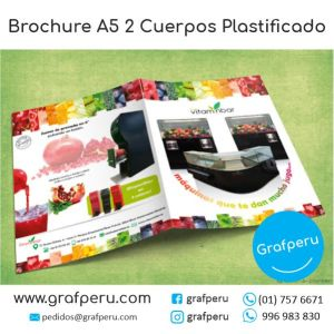 BROCHURE PUBLICITARIO 2 CUERPOS A5 MEDIO A4 PLASTIFICADO ECONOMICO GRAFPERU LIMA PERU BARATO