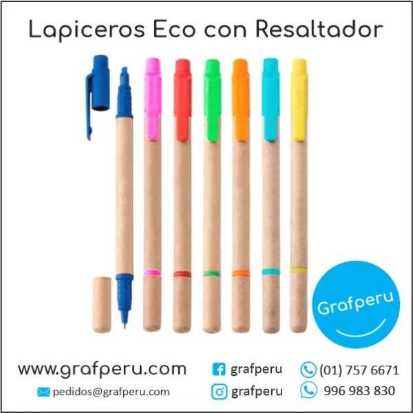 LAPICEROS ECOLOGICOS PUBLICITARIOS CON RESALTADOR BARATOS ECONOMICOS GRAFPERU LIMA PERU