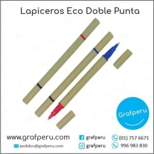LAPICEROS ECOLOGICOS PUBLICITARIOS DOBLE PUNTA BARATOS ECONOMICOS GRAFPERU LIMA PERU
