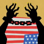 american flag with african american arms in chains