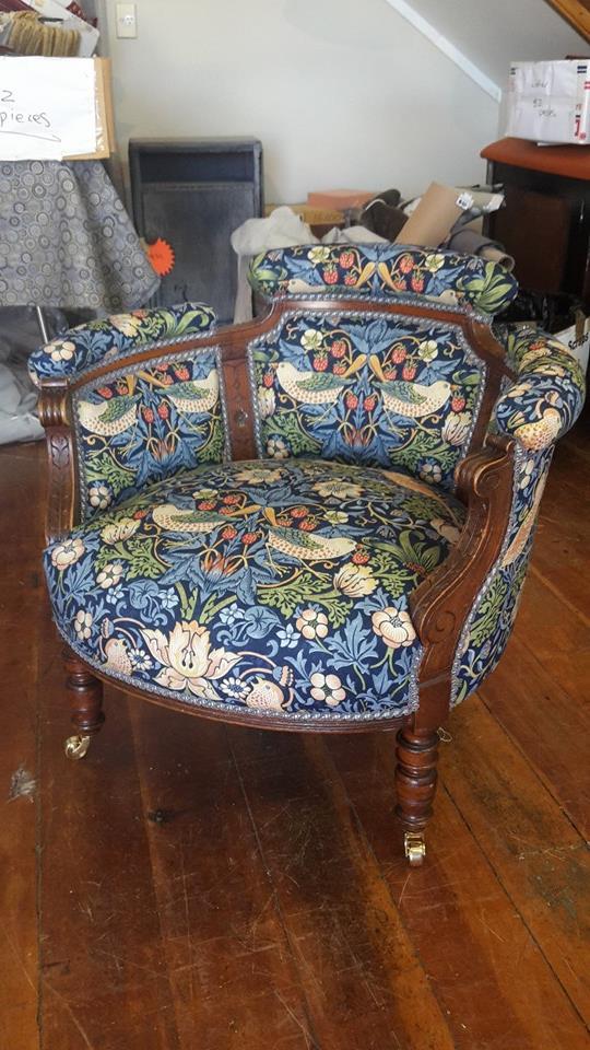 William Morris fabric tub chair