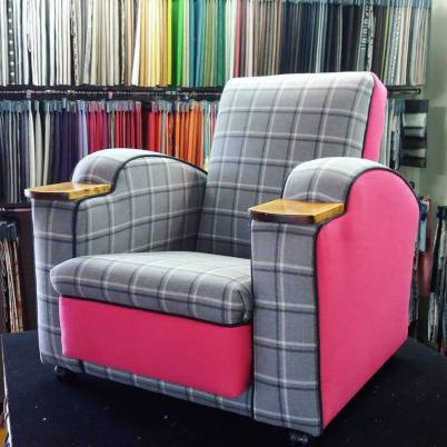 retro chair in pink and grey