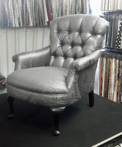 Small chair, luxurious metallic brocade fabric by Warwick $1375