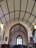 wonky roof at Ruishton Church