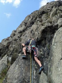 Andy making the difficult step into the groove on pitch two of Malediction Direct