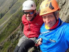 The two of us on the top of the Napes Needle - not much room up there!