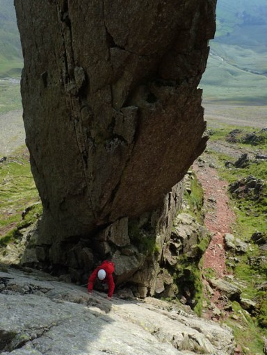 The first pitch of Needle Ridge, with the Napes Needle towering over Needle Gap