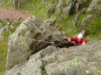 Lee coming up the Wasdale Crack to the shoulder on the Napes Needle