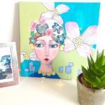 Un portrait pas tout à fait fini mais je l'aime déjà bien...#fmsphotoaday #mixedmedia #art #artwork #portrait #acrylique #paint #visage #flowmagazine #flowers