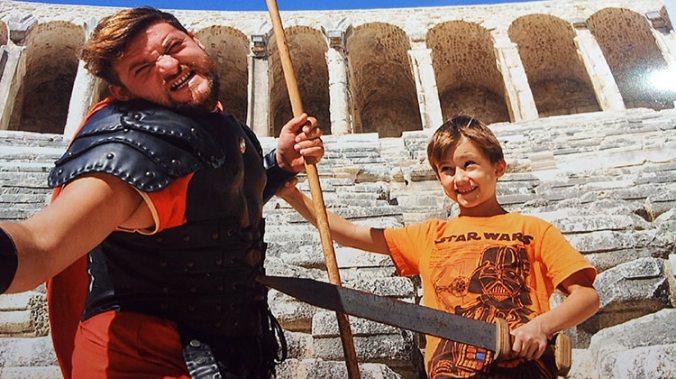 gladiateur au théâtre antique d'Aspendos près d'Antalya en Turquie