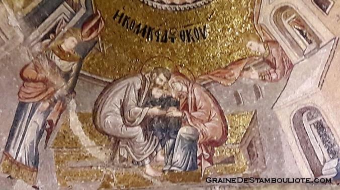 église byzantine saint-sauveur-in-chora à Istanbul, mosaïque de la vierge marie enfant, avec ses parents