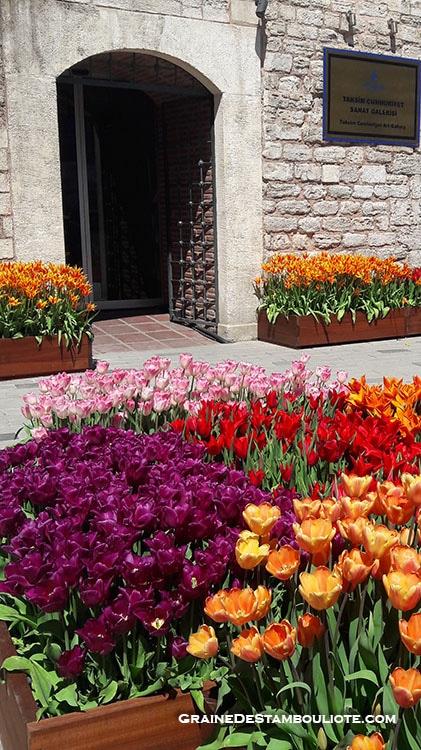 Galerie d'art de Taksim Cumhuriyet à Istanbul, qui accueille en avril, une exposition sur la tulipe