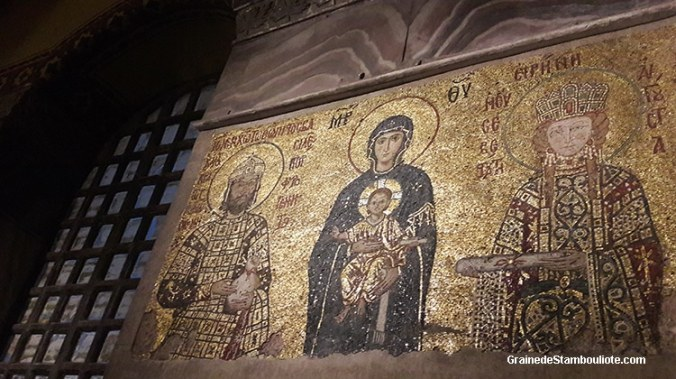 mosaïque byzantine de l'empereur Jean II Comnène et l'impératrice Irène la Hongroise entourant la vierge à l'enfant, Sainte-Sophie, Constantinople, Istanbul