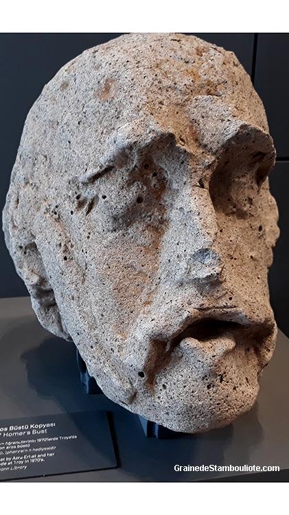 Homère, sculpture, musée de Troie