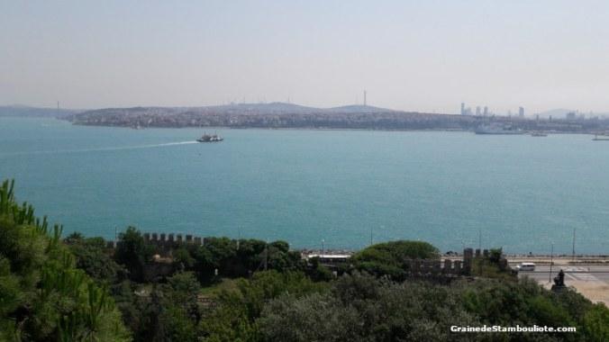 Palais topkapi, kiosque Mecidiye, vue sur l'entrée du Bosphore, la mer de Marmara et la rive asiatique d'Istanbul