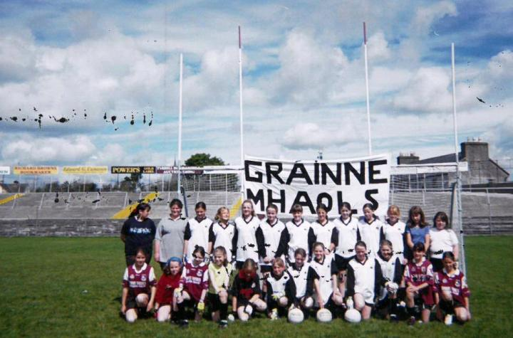 Grainne Mhaols U12 Squad pictured in Tuam Sadium prior to their historic County A Championship Final v St Brendans; Back Row (l to r) Chloe Walsh, Helen Aspell, Josephine McDonagh, Kim Young, Leigh Birchmore, Martha Folan, Becky Heanue, Tara Flaherty, Michelle Joyce, Aisling Kane, Jennifer Heanue, Fiona Reilly and Annabella Lydon. Front Row (l to r) Dolores McDonnell, Jessica Kearney, Aine Hannigan, Ciara Sheridan, Maire Staunton, Claire Mullen, Danielle Lydon, Noreen Coyne, Mary Joyce, Fionnuala Hannigan Dunkley, Patricia Flaherty and Roisin Clarke.