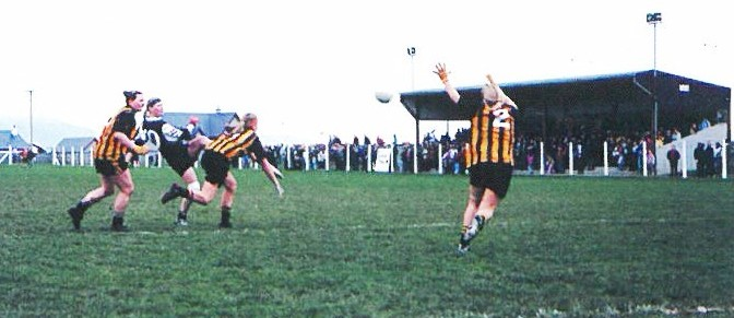 Lisa Coohill gets her shot in despite the attentions of three Abbeydorney defenders in this second half incident from the All Ireland Semi Final.