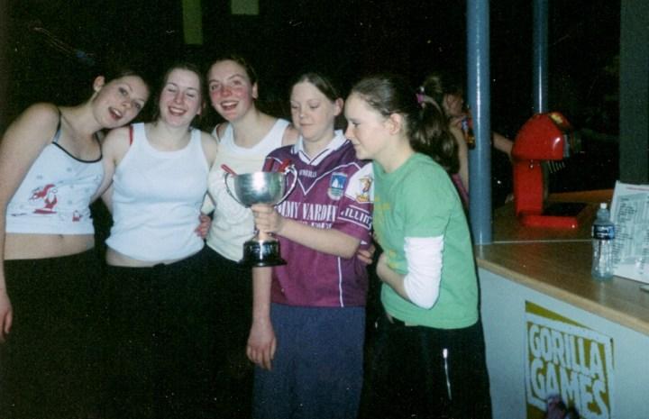 Josephine McDonagh, Michelle Joyce, Leigh Birchmore, Nóirín Coyne and Maíre Coyne in celebratory mood at Gorilla Games in Knocknacarra,shortly after their U16A Championship Final success in Pearse Stadium on December 8th 2004