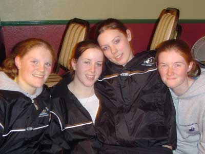 Mairead Coyne, Michelle Joyce, Josephine McDonagh and Claire Kane in happy, relaxed mode during the Grainne Mhaols Connacht Junior Championship success celebrations.