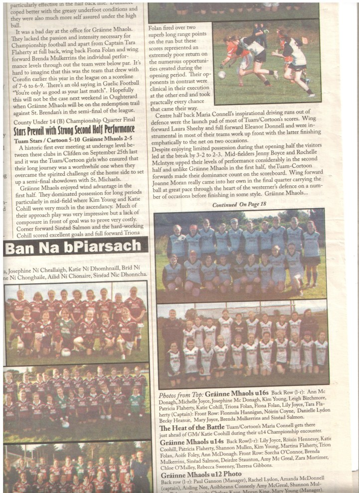 Grainne Mhaols U12s who lost out by the narrowest of margins to Dunmore in the  2005 County B Championship final in Killannin; Back Row (l to r) Paul Gannon (Manager), Rachel Lydon, Amanda McDonnell (Captain), Aisling Nee, Aoibheann Conneely, Amy McGreal, Shannon Mullen, Rebecca Conneely, Chelsea Kane, Megan King and Mary Young (Manager). Front Row (l to r) Niamh McDermott, Jade Leamy, Doireann Sheridan, Zoe Birchmore, Deirdre Staunton, Zara Mortimer, Caroline Nee, Shona Acton, Chloe O Malley, Michaela Wallace and Dearbhla Casey.