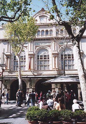 The façade of the Liceu, Barcelona, as viewed ...