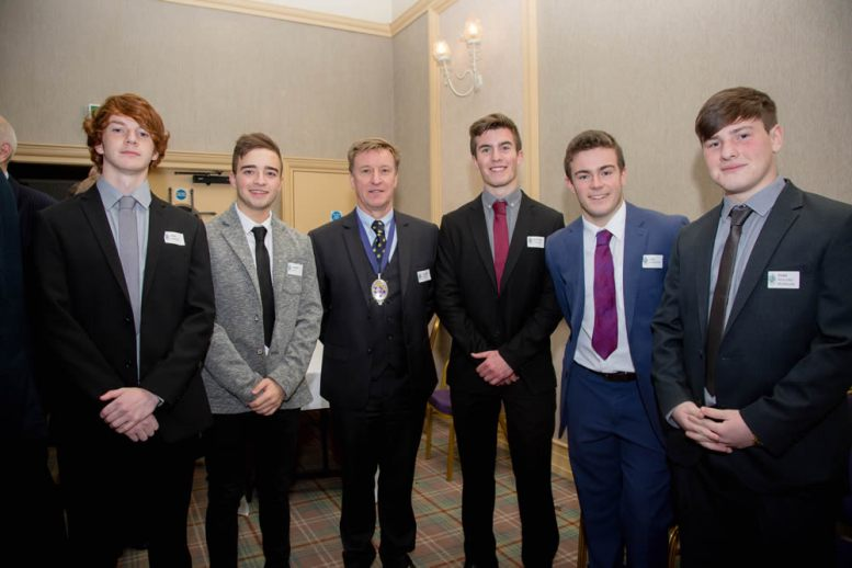 Grammarians chairman Geoffrey Miller with Ross Martin, Robbie Reid, Matthew Roirdan, Luke McWatters and Evan Wellard-McMillan, from the Class of 2014