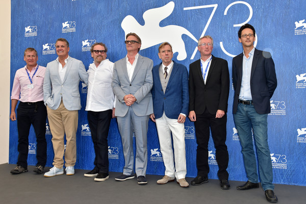 Colin Bateman (second from right) at the Venice Film Festival with actors Colm Meaney (third from left) and Timothy Spall (fifth from left), as well as director Nick Hamm (centre)