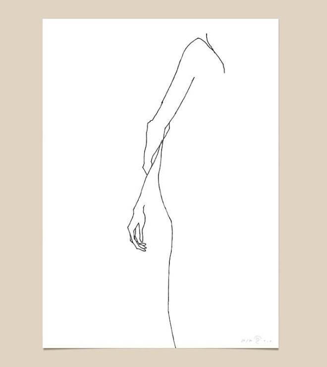 FredericForest_grammatical_LineDrawing_20_WomanWaiting2_70x100cm