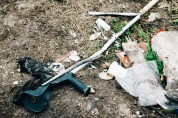 A broken crutch, left behind after demolition of the Southern end of the camp. 29th Feb.