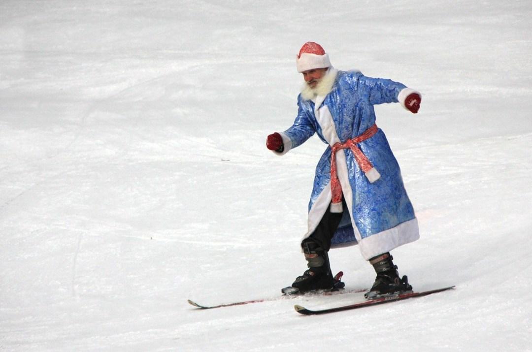 Santa skiing on the slopes