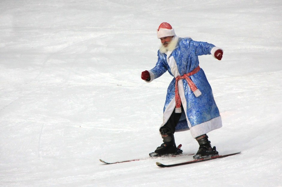 Santa skiing on the slopes