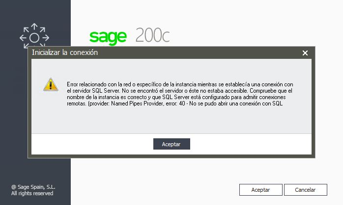 Error relacionado con la red o específico de la instancia mientras se establecía una conexión con el servidor SQL Server.