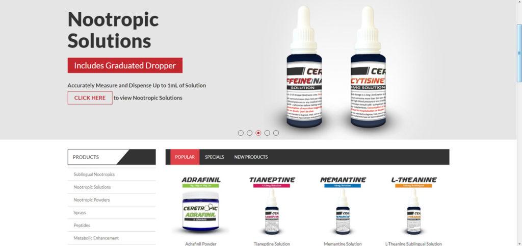 Ceretropic - zrzut ekranu z amerykańskiego sklepu z nootropami ceretropic.com
