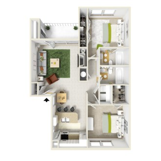 1 and 2 Bedroom Apartment Layouts   Courtyard Apartments and Storage Floor Plan C