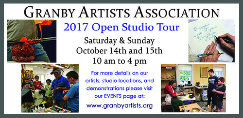 Granby Artists annual open studio tour is Oct  14-15