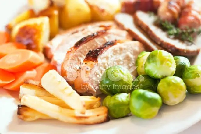 xmas dinner with sprouts