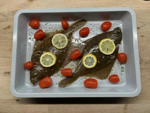 Small plaice prepared for roasting