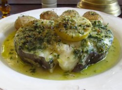 conger eel steak with potatoes