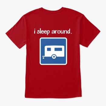 """I Sleep Around"" t-shirt with Grand Adventure logo"