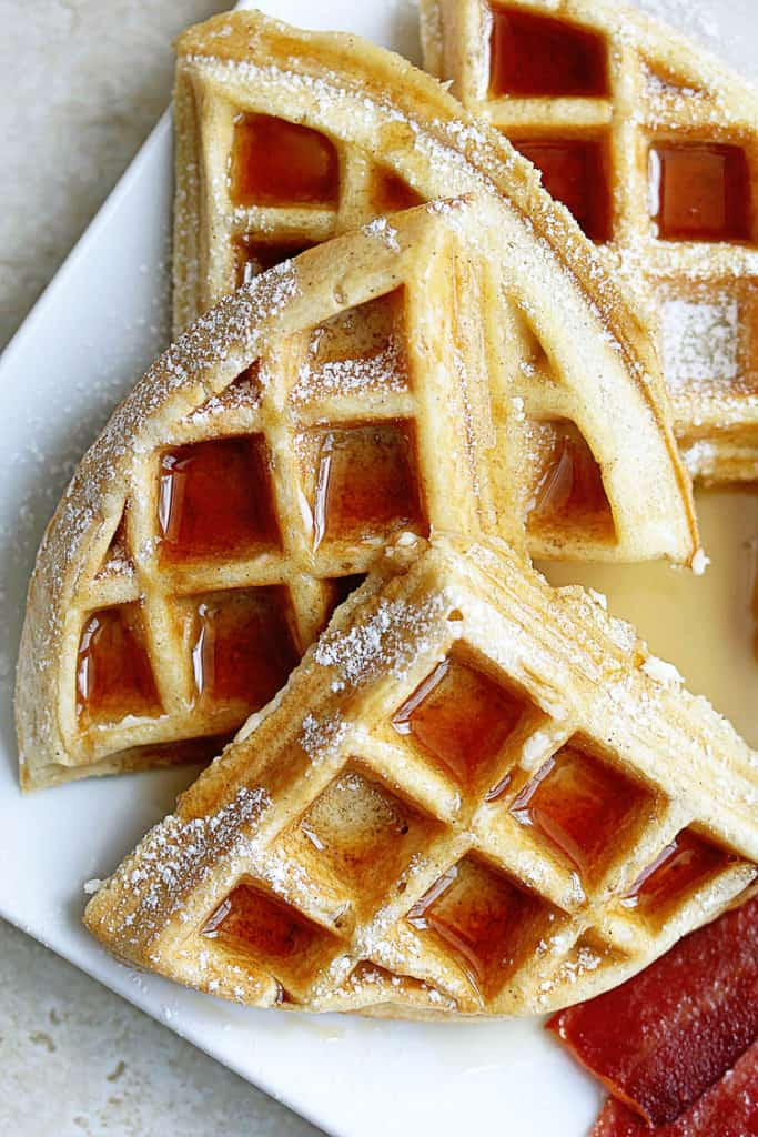 This Buttermilk Waffles Recipe has a beautiful crunchy golden brown exterior with a tender and flavorful texture inside. It's the best waffle recipe ever!