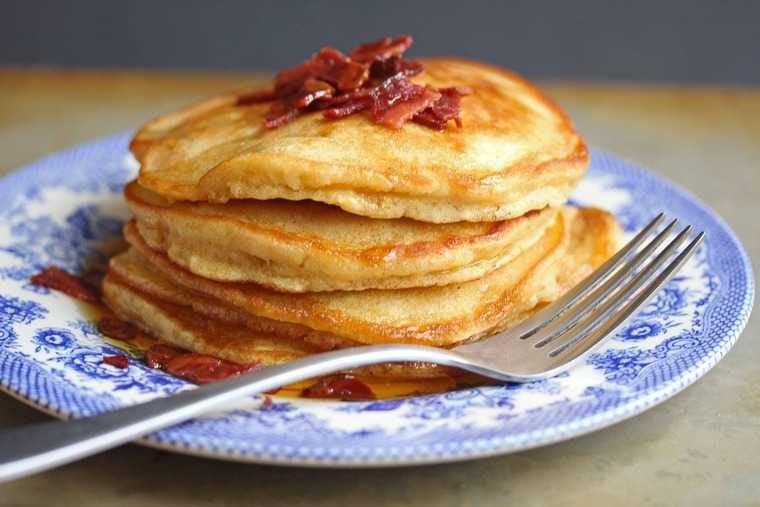 brown sugar pancakes 2 760x507 - Brown Sugar Pancakes with Bacon Maple Butter