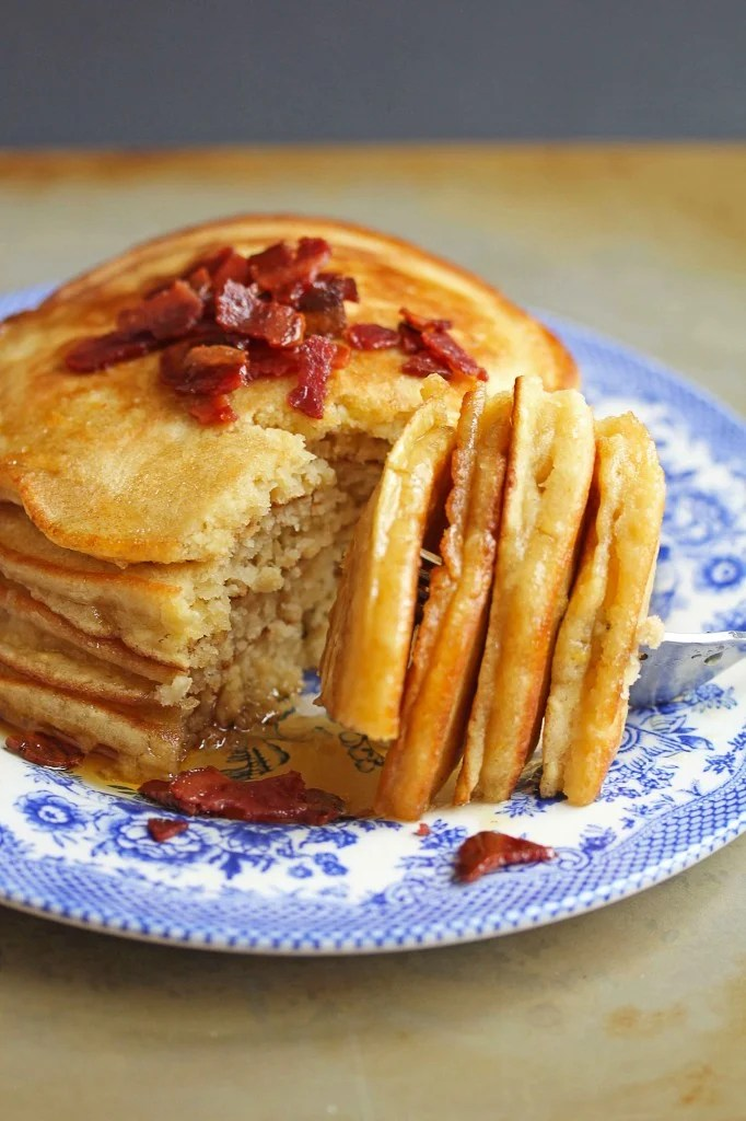 Brown Sugar Pancakes with Bacon Butter   Grandbaby Cakes