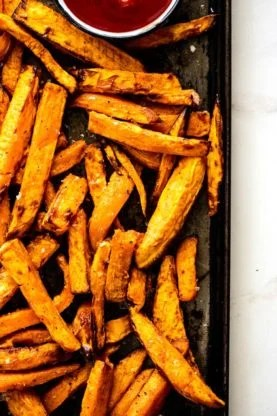 Sweet potato fries 4 277x416 - Garlic Butter Sweet Potato Fries