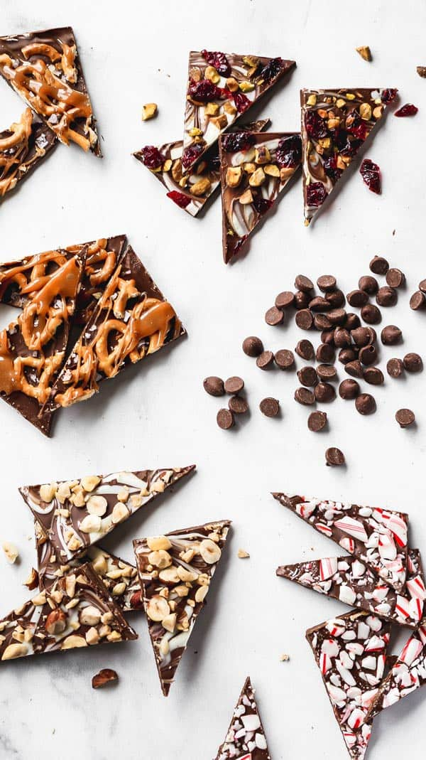 An overhead of chocolate bark scattered with chocolate chips