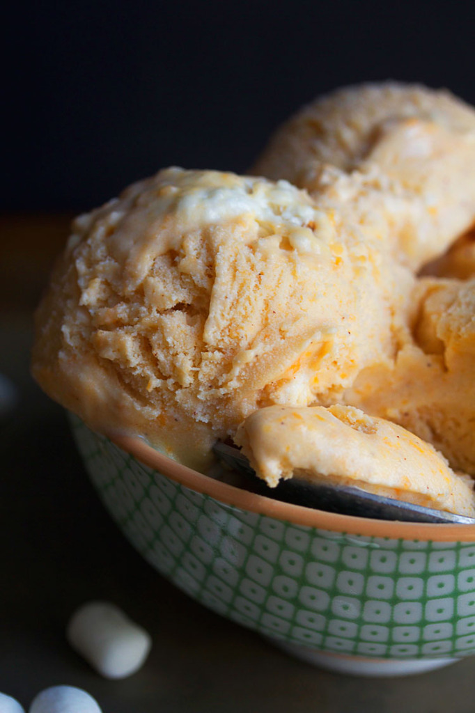 sweet potato ice cream 4 682x1024 - Sweet Potato Ice Cream with Toasted Marshmallows