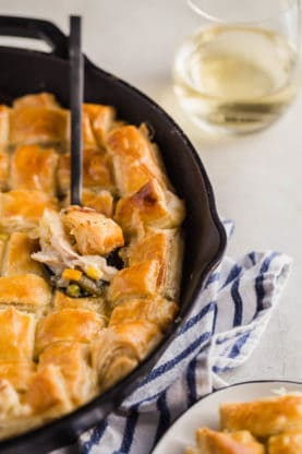 Close up of Homemade Chicken Pot Pie recipe with spoon digging in