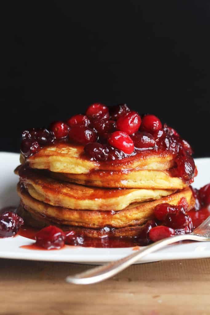 eggnog pancakes 1 683x1024 - Eggnog Pancakes with Cranberry Maple Syrup