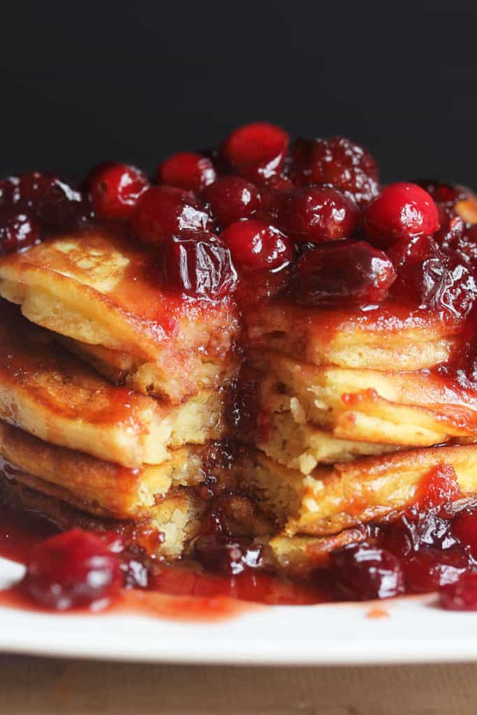 eggnog pancakes 4 683x1024 - Eggnog Pancakes with Cranberry Maple Syrup