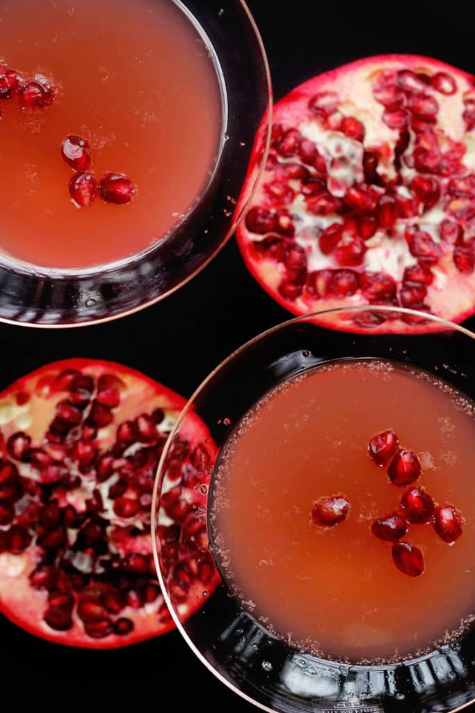 pomegranate champagne cocktail 3 copy 683x1024 - Pomegranate Orange Champagne Cocktail