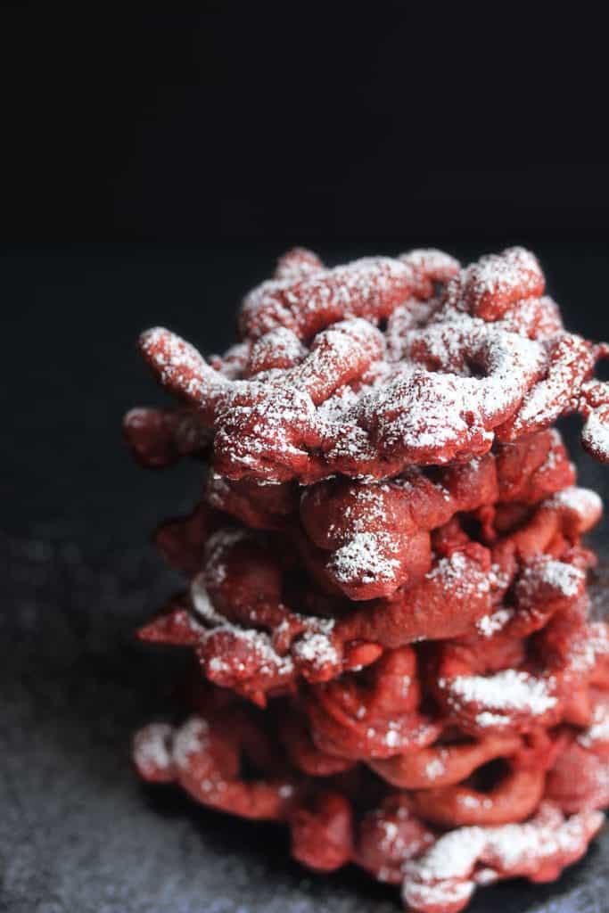 red velvet funnel cakes 2 683x1024 - Red Velvet Funnel Cakes